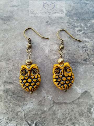 Boho yellow owl earrings