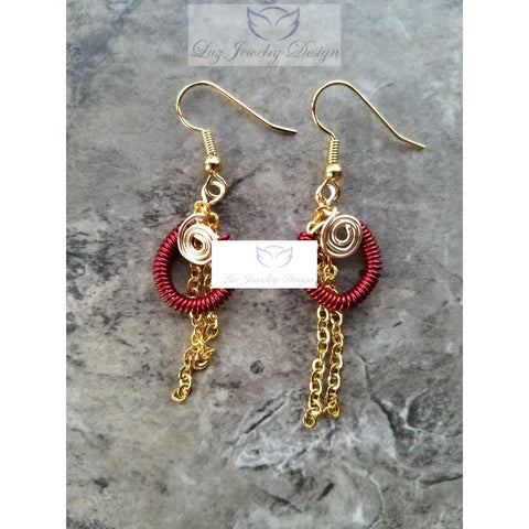 Wire coil red and yellow earrings