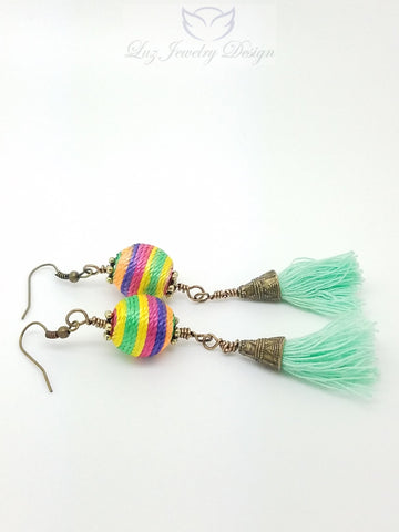 Long multicolor boho earrings