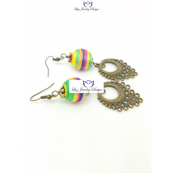 Long multicolor boho earrings - handcrafted Jewelry Luzjewelrydesign
