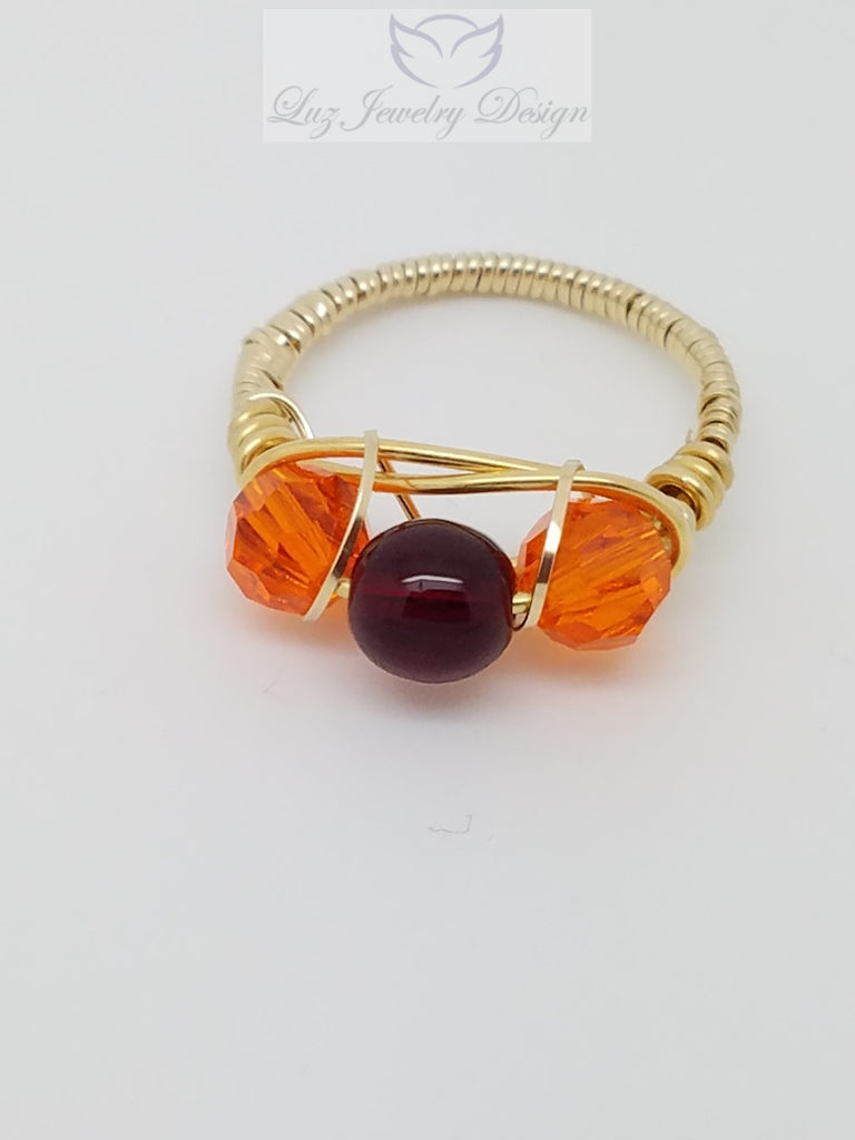 Gold orange and red three stone ring - Luzjewelrydesign   - 1