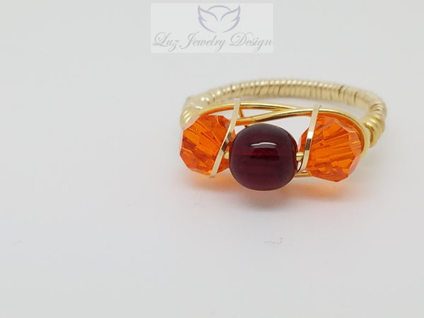 Gold orange and red three stone ring - handcrafted Jewelry Luzjewelrydesign