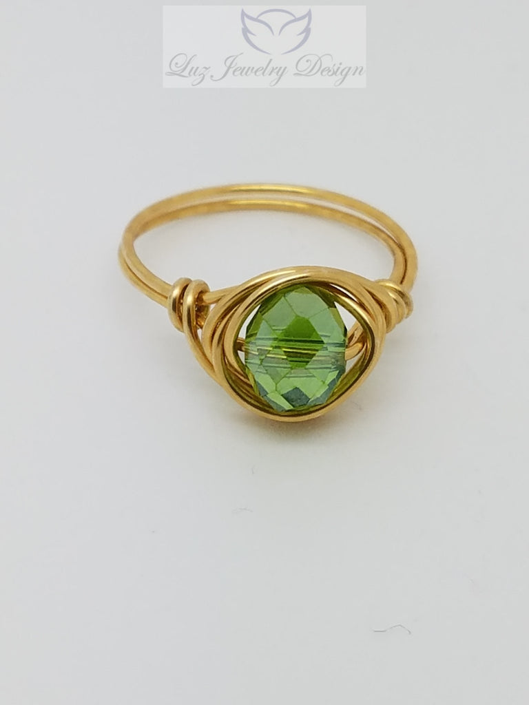 Green Swarovski Crystal Ring - Luzjewelrydesign   - 1