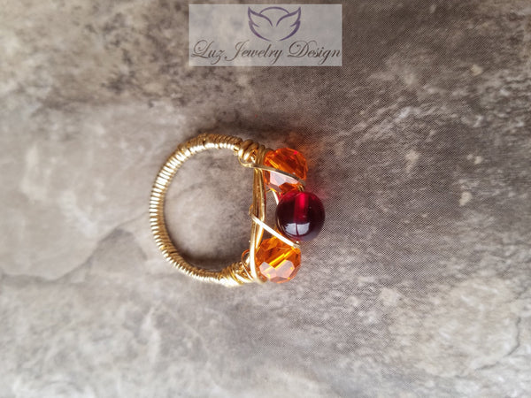 Gold orange and red three stone ring - Luzjewelrydesign   - 3
