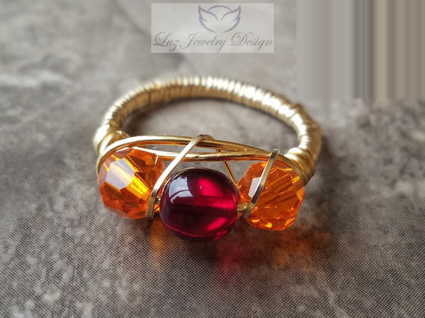 Gold orange and red three stone ring - Luzjewelrydesign   - 4