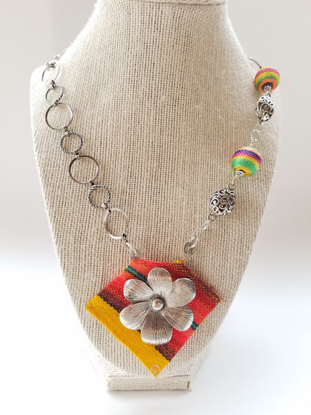 Ethnic Textlie Necklace, - handcrafted Jewelry Luzjewelrydesign