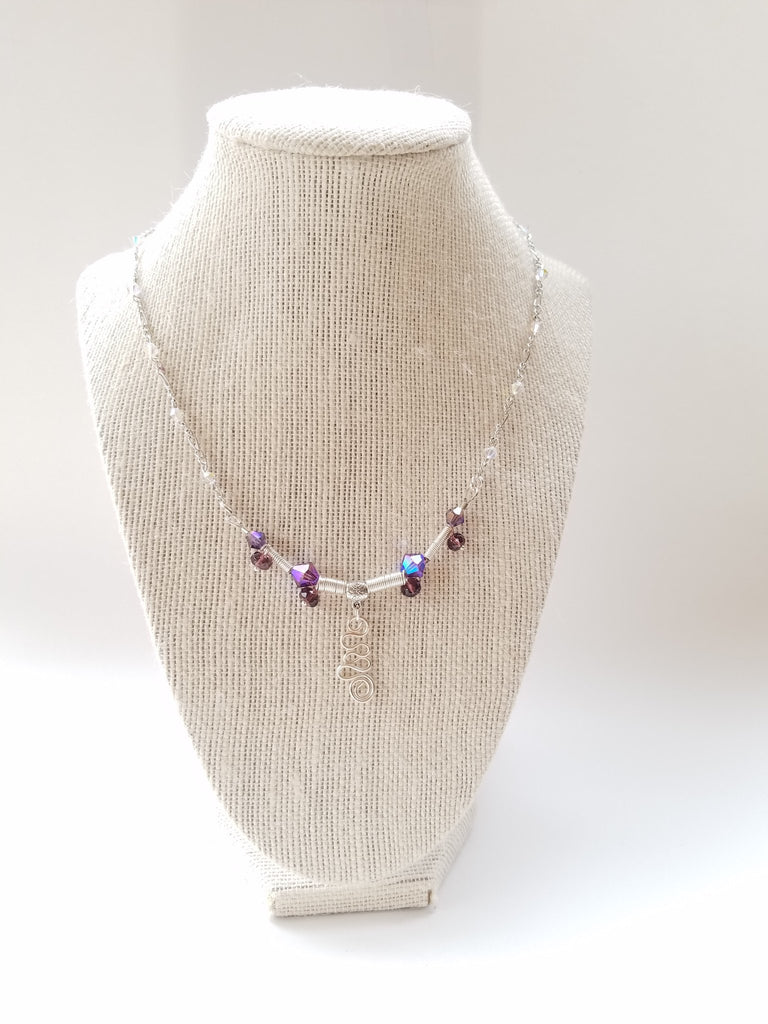 Purple Swarovski sterling silver necklace - Luzjewelrydesign   - 1