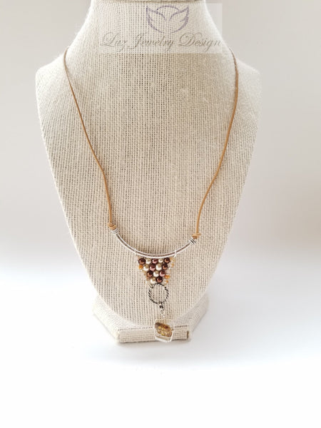 Brown leather necklace - Luzjewelrydesign   - 1