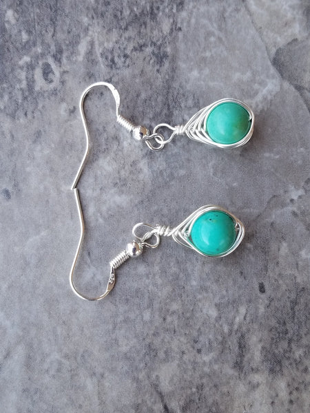 Turquoise wire wrap earrings - Luzjewelrydesign   - 4