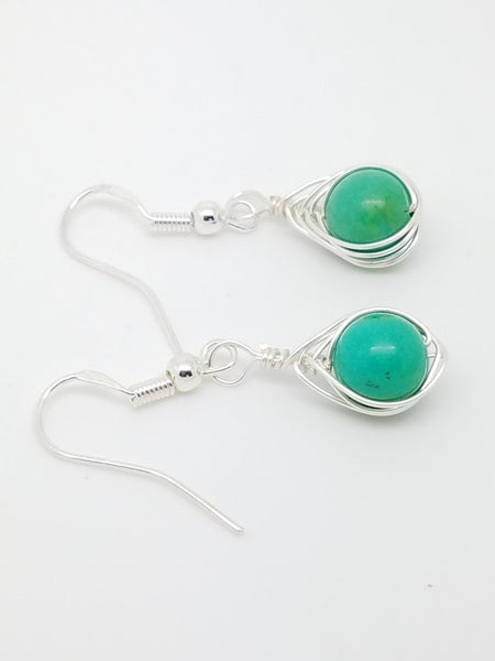Turquoise wire wrap earrings - Luzjewelrydesign   - 3