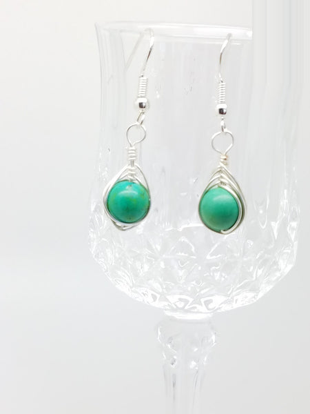 Turquoise wire wrap earrings - Luzjewelrydesign   - 2
