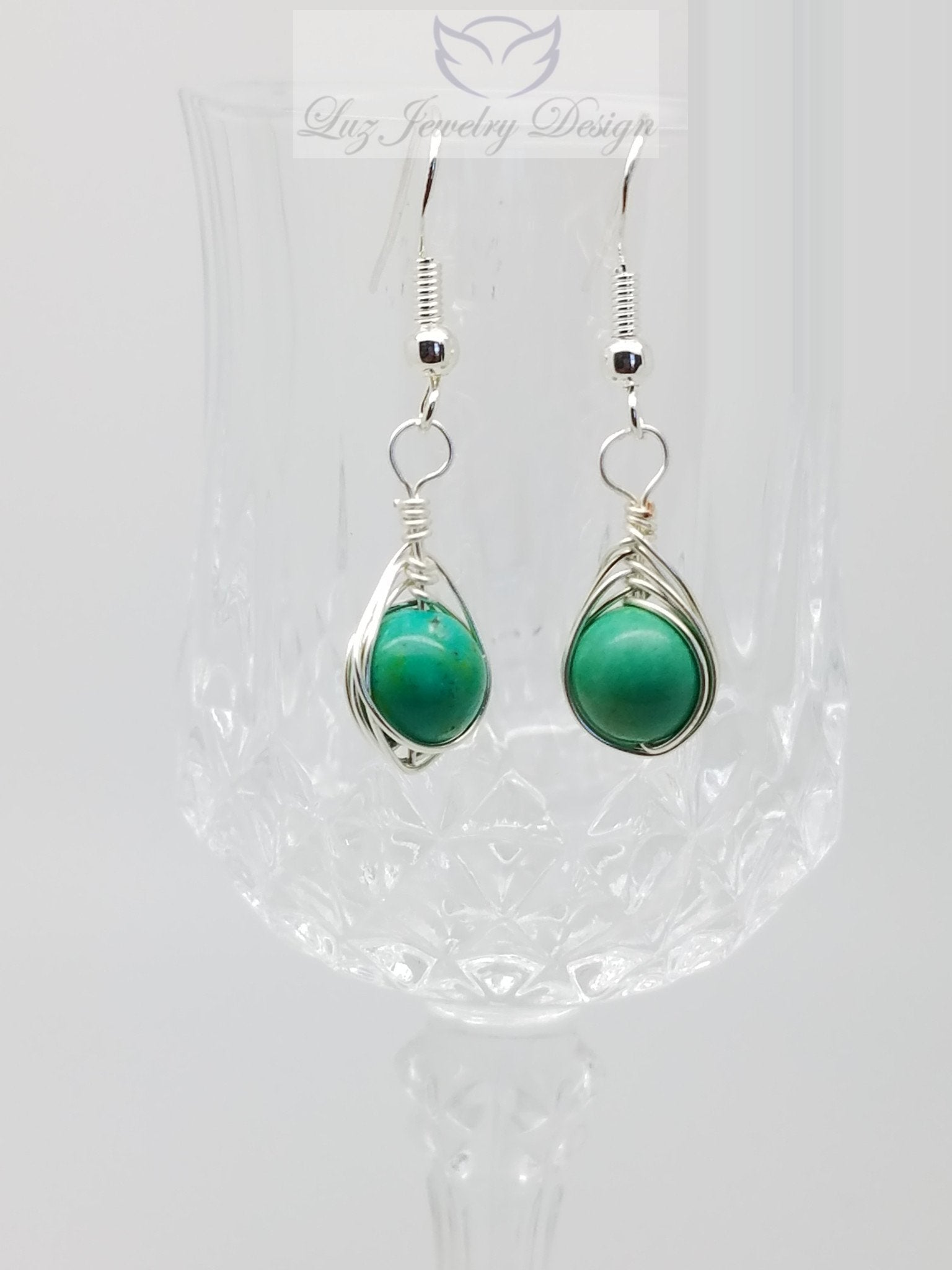 Turquoise wire wrap earrings - Luzjewelrydesign   - 1