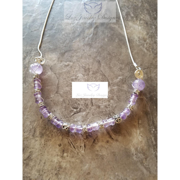 Purple Amethyst Necklace sterling silver - Luzjewelrydesign   - 2