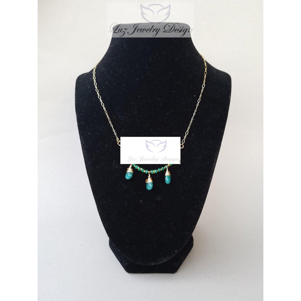 Green jade gold fill necklace - Luzjewelrydesign   - 2