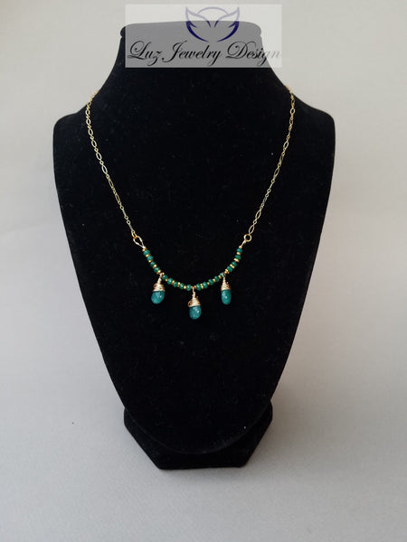 Green jade gold fill necklace - Luzjewelrydesign   - 3