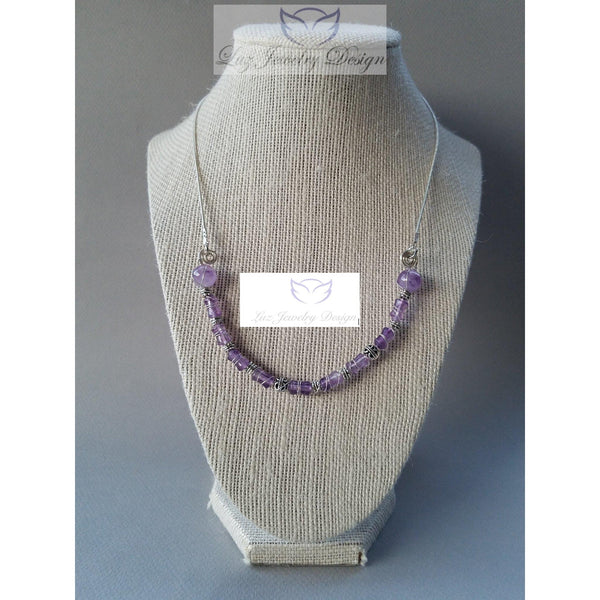 Purple Amethyst Necklace sterling silver - Luzjewelrydesign   - 3