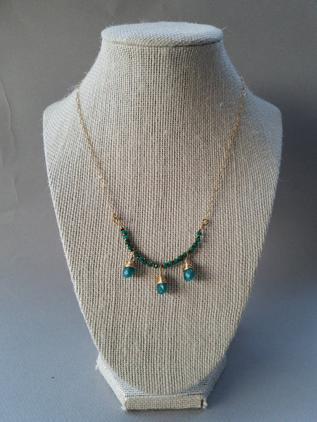 Green jade gold fill necklace - Luzjewelrydesign   - 4