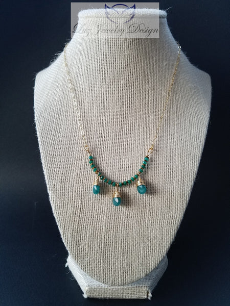 Green jade gold fill necklace - Luzjewelrydesign   - 5
