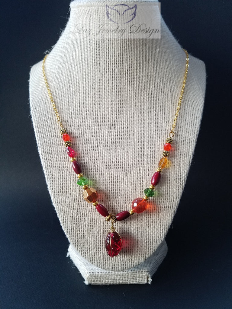 Red gold necklace Czech red necklace - Luzjewelrydesign   - 1