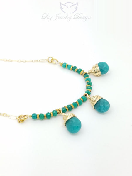 Green jade gold fill necklace - Luzjewelrydesign   - 1