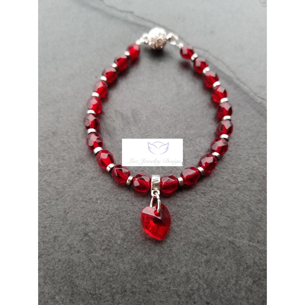 Dark red bracelet, Red jewelry - Luzjewelrydesign   - 1