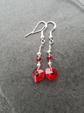 Red Crystal Heart Earrings, red love heart earrings