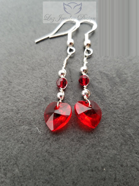 Red Crystal Heart Earrings, red love heart earrings - Luzjewelrydesign   - 2