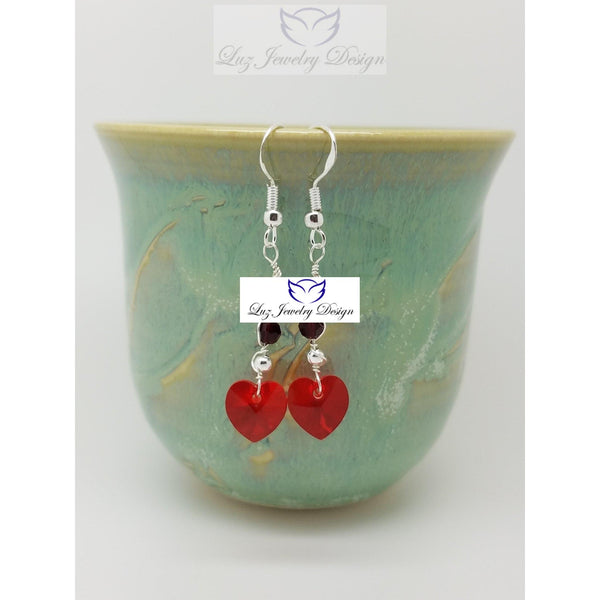 Red Crystal Heart Earrings, red love heart earrings - Luzjewelrydesign   - 3
