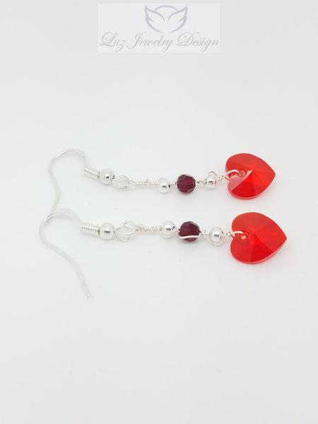 Red Crystal Heart Earrings, red love heart earrings - Luzjewelrydesign   - 4