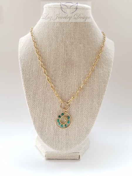 Green gold necklace, bohemian green necklace green necklace - Luzjewelrydesign   - 3