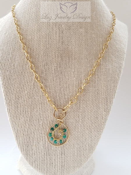 Green gold necklace, bohemian green necklace green necklace - Luzjewelrydesign   - 4