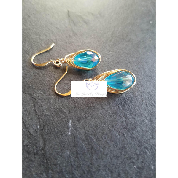 Blue Gold Earrings - Luzjewelrydesign