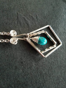 Silver Turquoise Necklace - Luzjewelrydesign