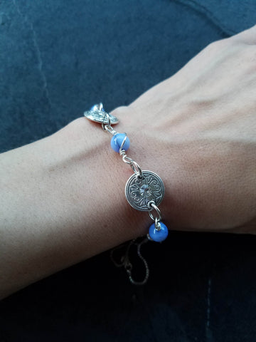 Blue Adjustable Bracelet - handcrafted Jewelry Luzjewelrydesign