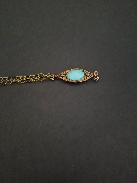 Turquoise brass necklace - Luzjewelrydesign