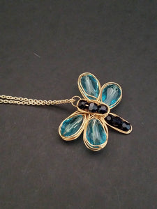 Butterfly Blue and Black Necklace, Gold wire Butterfly Necklace - handcrafted Jewelry Luzjewelrydesign