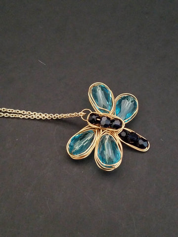 Butterfly Blue and Black Necklace, Gold wire Butterfly Necklace