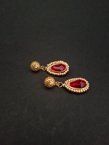 Red Gold Earrings Wire Wrapped