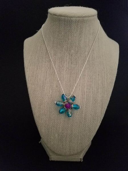 Blue Flower Wire Wrapped Necklace - Luzjewelrydesign