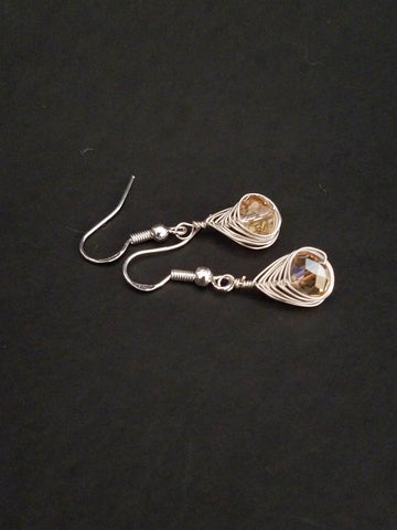 Light pink Silver Earrings Wire Wrapped