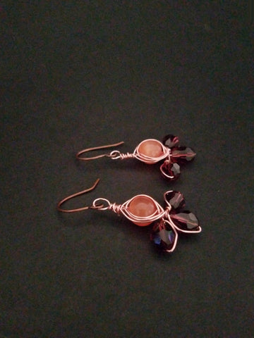 Purple Orange Earrings Wire Wrapped