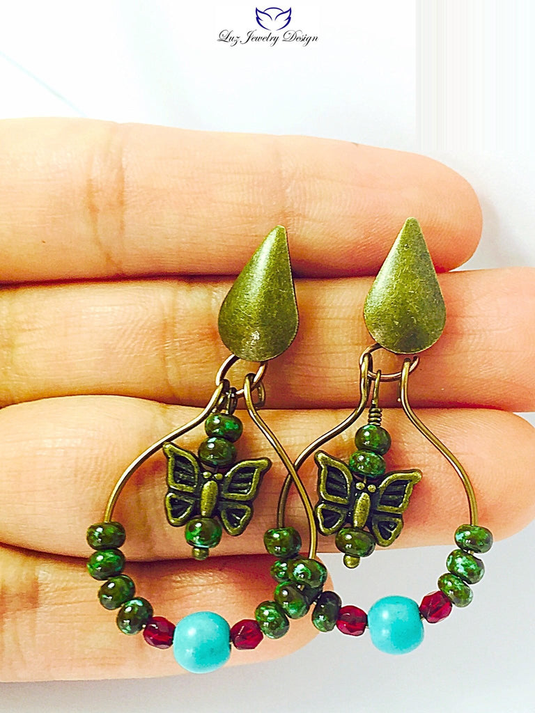 Boho brass earrings - Luzjewelrydesign   - 1