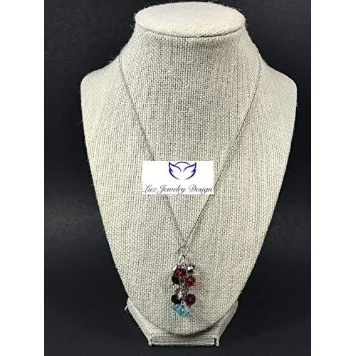 Red Black Blue Necklace - Luzjewelrydesign