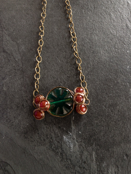 Wire Wrapped Green and Orange necklace - Luzjewelrydesign