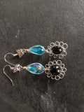 Black Flower Blue Earrings - handcrafted Jewelry Luzjewelrydesign