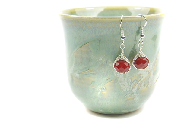 Dark Red Sterling Silver Earrings - handcrafted Jewelry Luzjewelrydesign