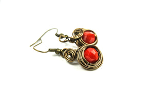 Brass Red Earrings - handcrafted Jewelry Luzjewelrydesign