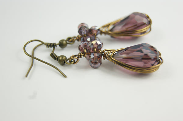 Purple Brass Earrings Wire Wrapped