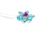 Blue Flower Wire Wrapped Necklace - handcrafted Jewelry Luzjewelrydesign