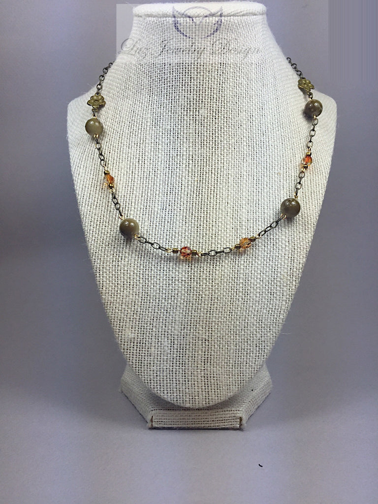 Brass brown necklace - Luzjewelrydesign   - 1